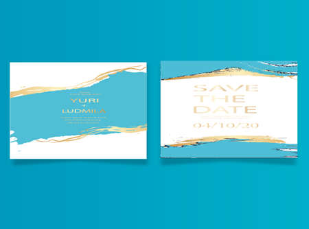 invitation cards with luxurious gold and dark blue marble background texture and abstract ocean style vector template for wedding, new year, events Illusztráció