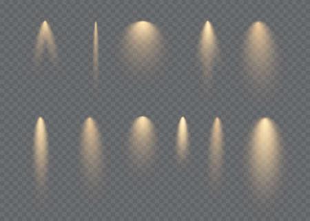 Vector spotlight. Light effect.Horizontal stellar rays and