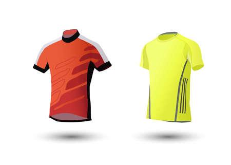Shirt mockup set. Sports t-shirt template. yellow, gray and orange, front design