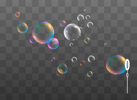 Set of realistic colorful soap bubbles. Transparent realistic soap bubbles isolated on transparent background