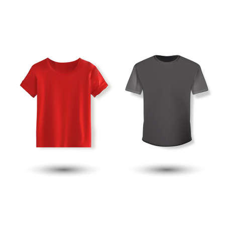 Shirt mockup set. T-shirt template. Black, gray and red version, front design