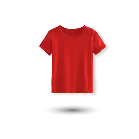 Shirt mockup set. T-shirt template. red version, front design 向量圖像