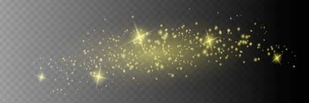 The dust sparks and golden stars shine with special light. Vector sparkles on a transparent background. Christmas light effect. Sparkling magical dust Illusztráció