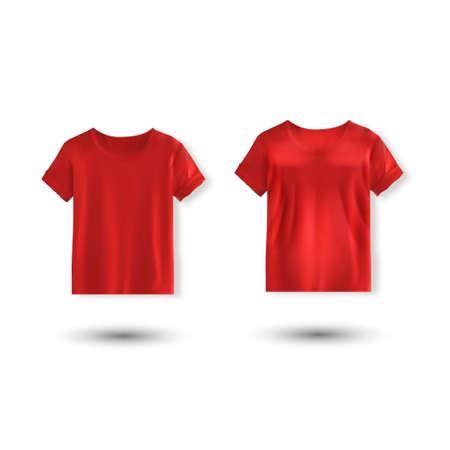Shirt mockup set. T-shirt template. red version, front design Illusztráció