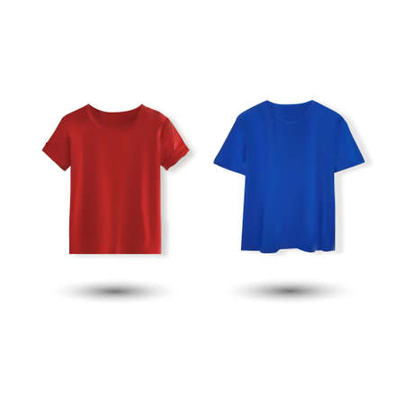 Shirt mockup set. T-shirt template. Blue and red version, front design