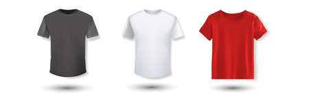 Shirt mockup set. T-shirt template. Black, gray and red with white version, front design 向量圖像