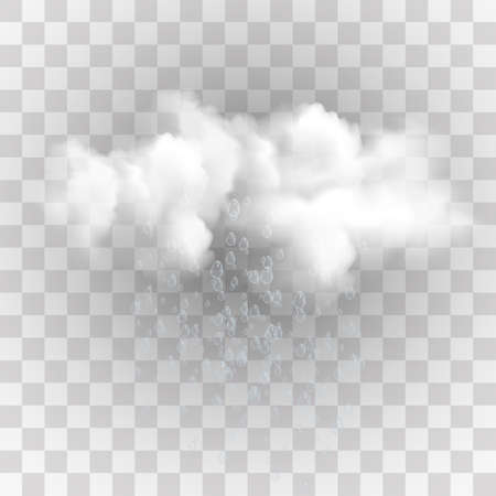 Rain and white cloud isolated on transparent background. Vector illustration