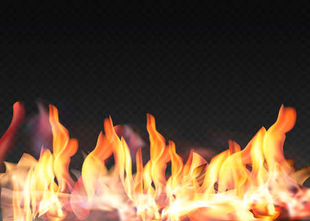 Translucent fire flames and sparks with horizontal repetition on transparent background. For used on dark illustrations.