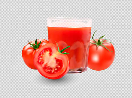 a glass of tomato juice, tomato set. Collection of red tomatoes.Photorealistic vector images isolated on white background