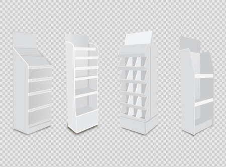 White Long Blank Empty Showcase Displays With Retail Shelves. 3D Products On White Background Isolated. Illusztráció