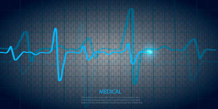 Cardiology concept with pulse rate diagram. Medical background with heart cardiogram 向量圖像