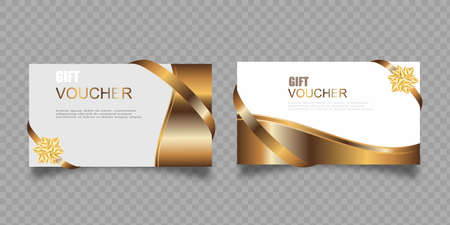 Vector set of luxury gift vouchers with ribbons and gift box. Elegant template for a festive gift card, coupon and certificate. Discount Coupon Template Vector Illustration Illusztráció