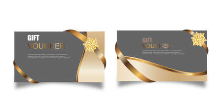 Vector set of luxury gift vouchers with ribbons and gift box. Elegant template for a festive gift card, coupon and certificate. Discount Coupon Template Vector Illustration Vettoriali