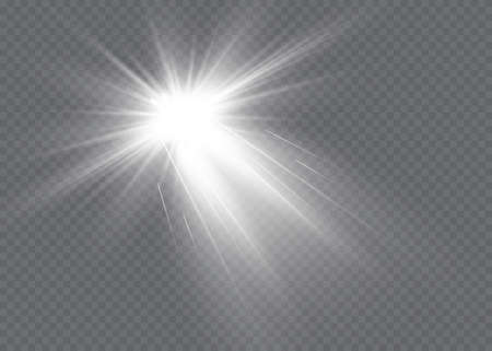 White glowing light explodes on a transparent background. Vector illustration of light decoration effect with ray