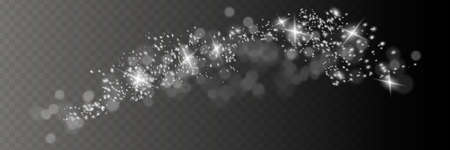 The dust is yellow. yellow sparks and golden stars shine with special light. Vector sparkles on a transparent background. Christmas light effect. Vettoriali