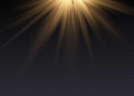 Vector spotlight. Light effect. Horizontal stellar rays and Ilustração