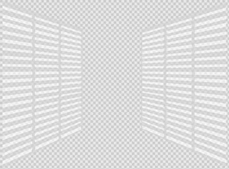 Overlay shadow effect. Transparent overlay window and blinds shadow. Realistic light effect of shadows and natural lighting on a transparent background.