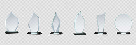 Glass Trophy Awards template. Vector prize isolated on transparent