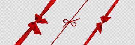 Set of decorative platinum string bow with horizontal thin rope isolated on white background. Illusztráció