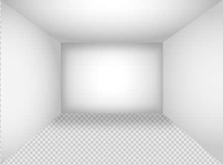 Empty white room. The inner space of the box. Vector design illustration. Illusztráció