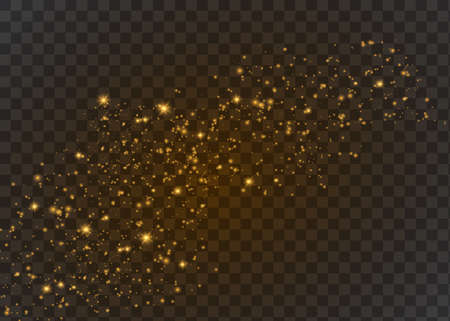The dust is yellow. yellow sparks and golden stars shine with special light.