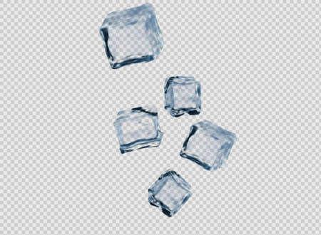Set of four transparent ice cubes in blue colors Illusztráció