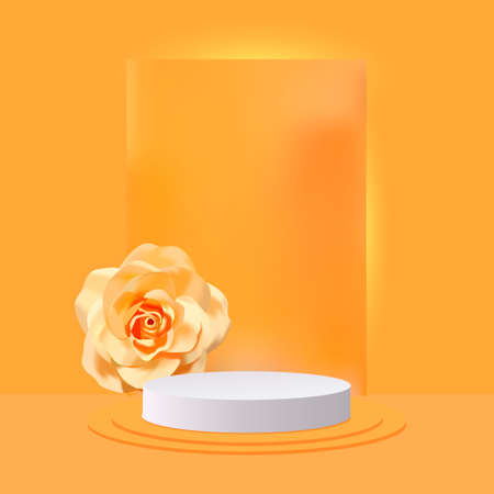 3d abstract design stage with white podium and realistic rose Illusztráció