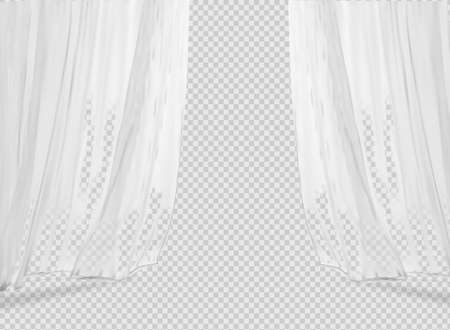 White lightweight fabric curtain fluttering realistic vector illustration mock up. Shower or window fabric on a curtain rod template Illusztráció
