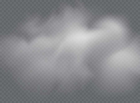 Fog or smoke isolated transparent special effect. White vector cloudiness, mist or smog background