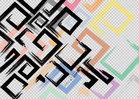 Cute vector geometric seamless pattern. Brush strokes, arrows. Hand drawn grunge texture