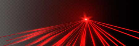 Abstract red laser beam. Transparent isolated on black background. Illusztráció