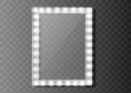 Makeup mirror isolated with golden lights. Vector illustration. Illusztráció