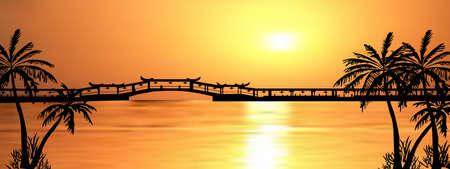 Dark palm trees silhouettes on colorful tropical ocean sunset background, vector illustration Illusztráció