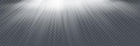 Vector transparent sunlight special lens flash light effect.