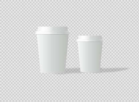 Mockup template for cafe, corporate identity design. Disposable paper tableware. Vector template for hot drinks. Ilustração