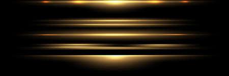 Blue horizontal lens flares pack. Laser beams, horizontal light rays.Beautiful light flares. Glowing streaks on dark background