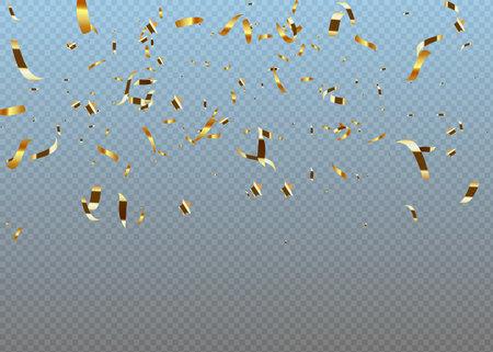 Golden confetti isolated on checkered background. Festive vector illustration Illusztráció
