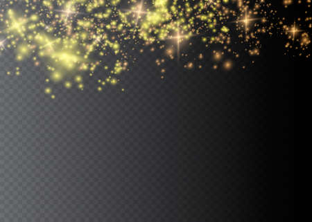 Sparkling magical dust particles .The dust sparks and golden stars shine with special light. Vector sparkles on a transparent background. Christmas light effect.