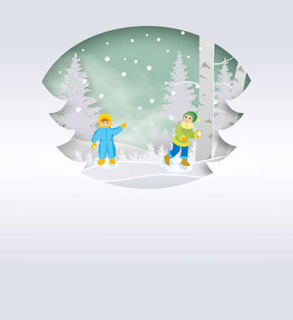 Happy family throwing snowballs - cartoon people characters illustration on white background. Concept of winter activity, New Year,