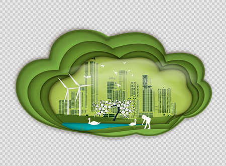 Paper folding art origami style vector illustration. Renewable energy ecology technology power saving environmentally friendly