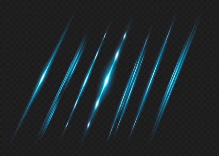 Blue horizontal lens flares pack. Laser beams, horizontal light rays.Beautiful light flares. Glowing streaks on dark background. Luminous abstract sparkling lined background. Ilustração