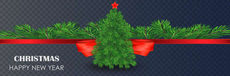 Christmas Decoration. Green branches of a Christmas tree on a background of wood. Vector Eps10 Ilustração
