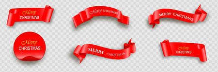 Merry Christmas celebration background with red realistic ribbon banner and snow. Vector illustration