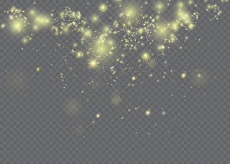 White sparks and stars glitter special light effect. Sparkling magic dust particles. Ilustração