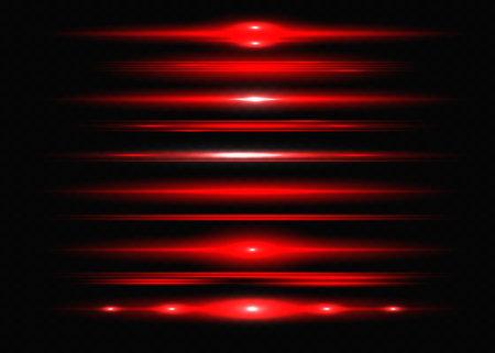 Red horizontal lens flares pack. Laser beams, horizontal light rays.Beautiful light flares. Glowing streaks on dark background. Luminous abstract sparkling lined background. Ilustração