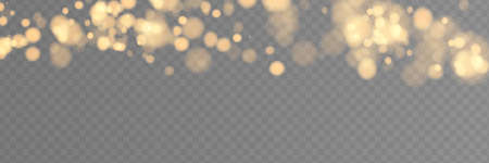 Shining bokeh isolated on transparent background. Golden bokeh lights with glowing particles isolated.