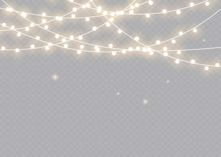 Christmas lights. Bright Xmas garland. Vector glow light bulbs on wire strings