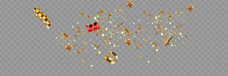 Golden confetti isolated on checkered background. Festive vector illustration Ilustração