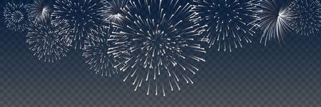Vector Brightly Colorful Fireworks on the background of the night sky Ilustração