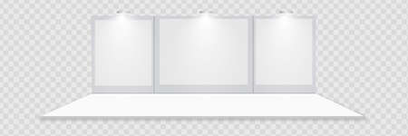 3D exhibition booth. White empty promotional stand with desk. Vector white empty geometric square. Presentation event room display.